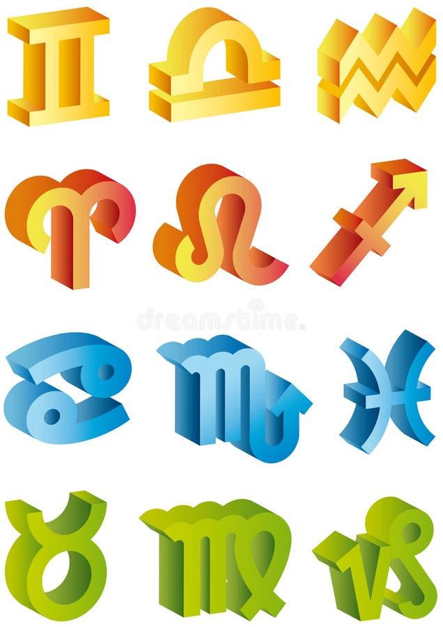segni dello zodiaco 3d illustrazione di stock
