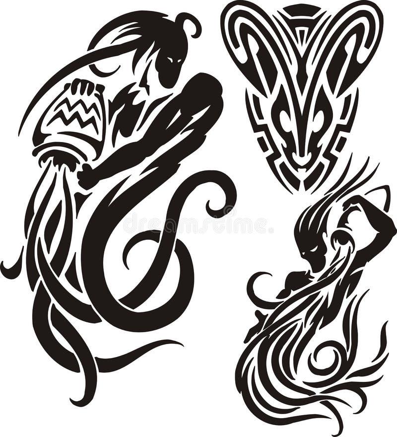 Segni dello zodiaco - Aquarius insieme Vinile-pronto di vettore illustrazione di stock