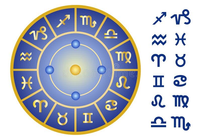 Segni dello zodiaco, insieme dell'icona di vettore illustrazione vettoriale