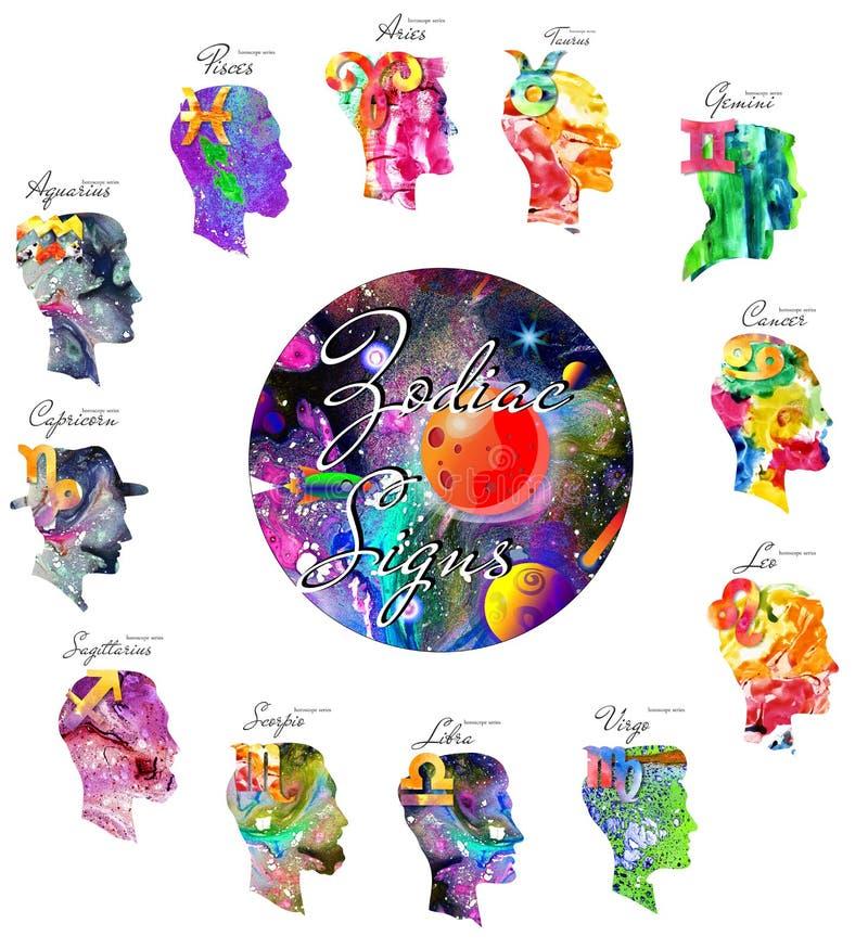 Segni dello zodiaco Serie dell'oroscopo royalty illustrazione gratis