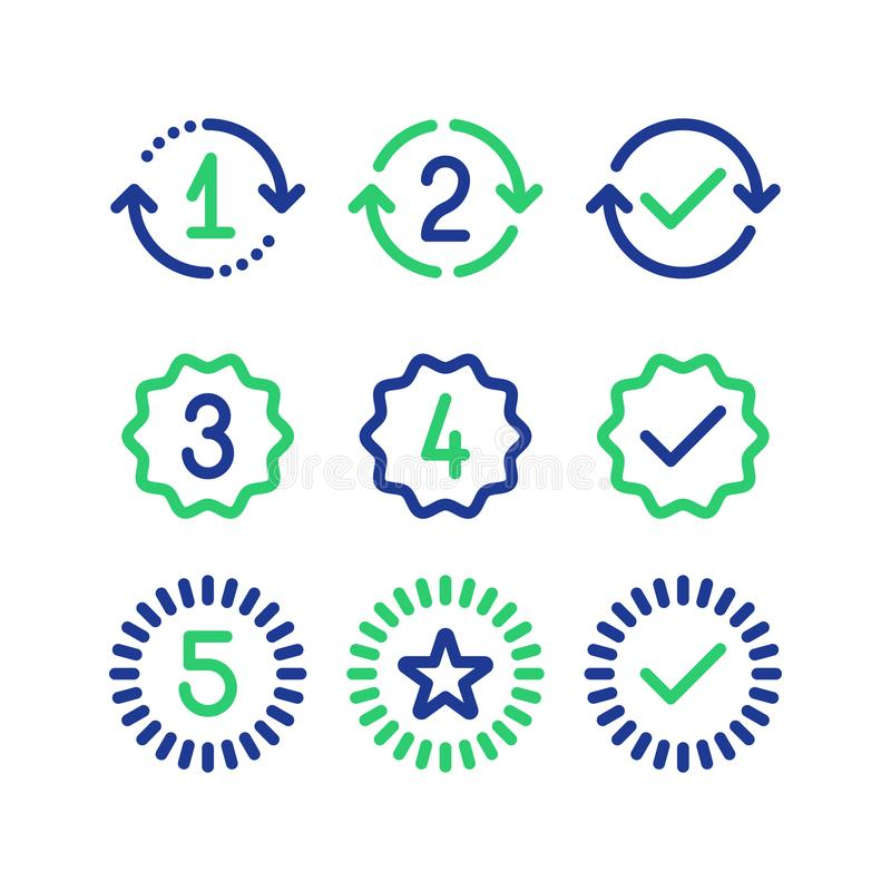 Segni di anni della garanzia, periodo di servizio di garanzia, segno approvato, linea icone illustrazione vettoriale