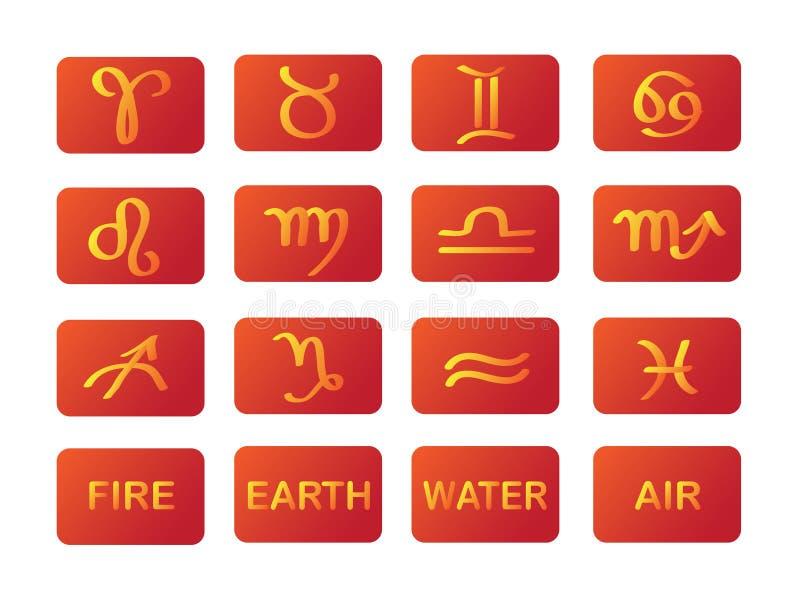 Segni di colore rosso di simboli di horoscope dello zodiaco fotografia stock libera da diritti