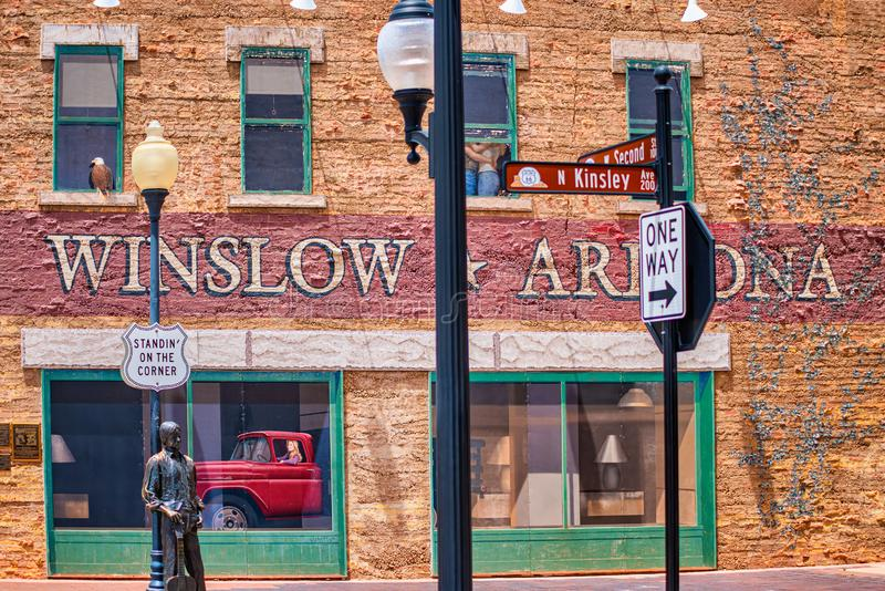 Segni di costruzione dell'Arizona del winslow fotografie stock libere da diritti