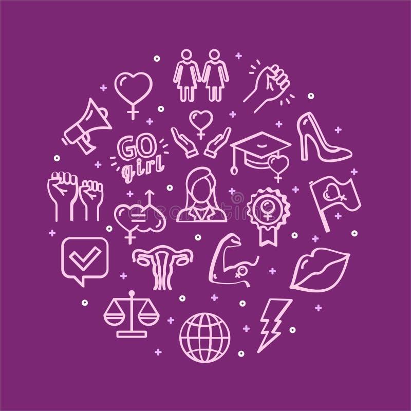 Segni di femminismo intorno alla linea sottile concetto del modello di progettazione dell'icona Vettore illustrazione vettoriale