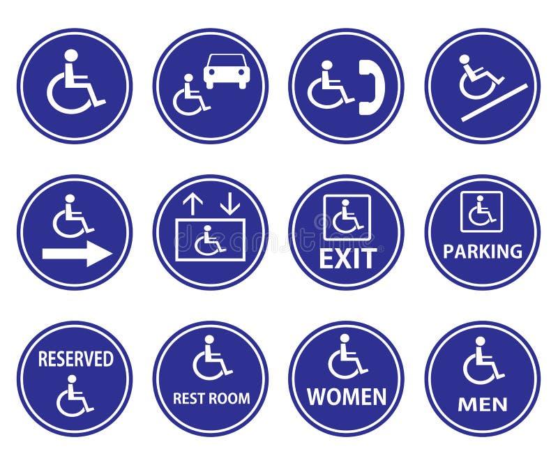 Segni di handicap con la sedia a rotelle illustrazione vettoriale