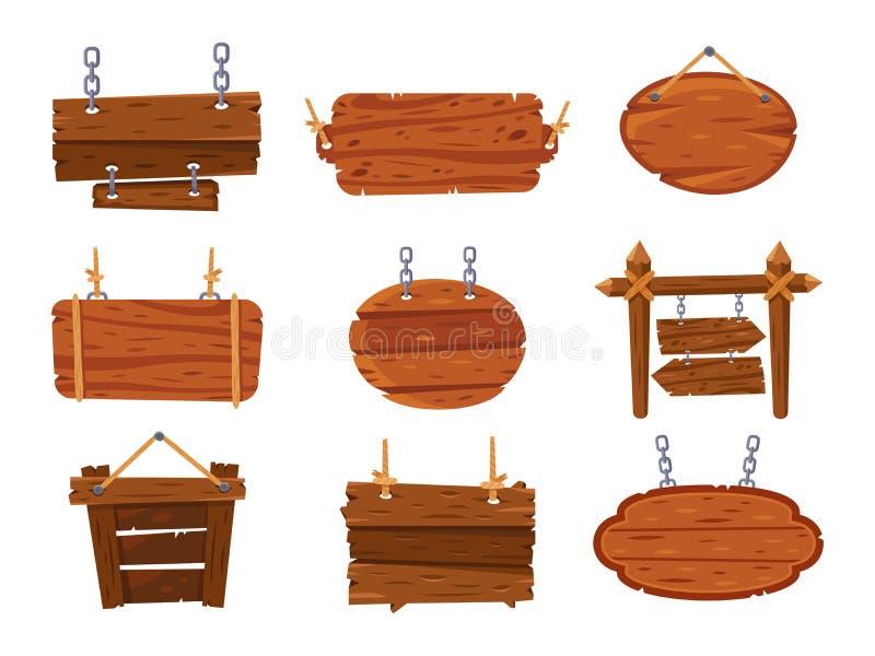 Segni di legno d'attaccatura Bordi di legno antichi in bianco del segno Retro insieme di vettore isolato del fumetto insegna illustrazione di stock