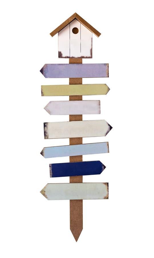 Segni di legno delle frecce messi Posta della guida fotografia stock