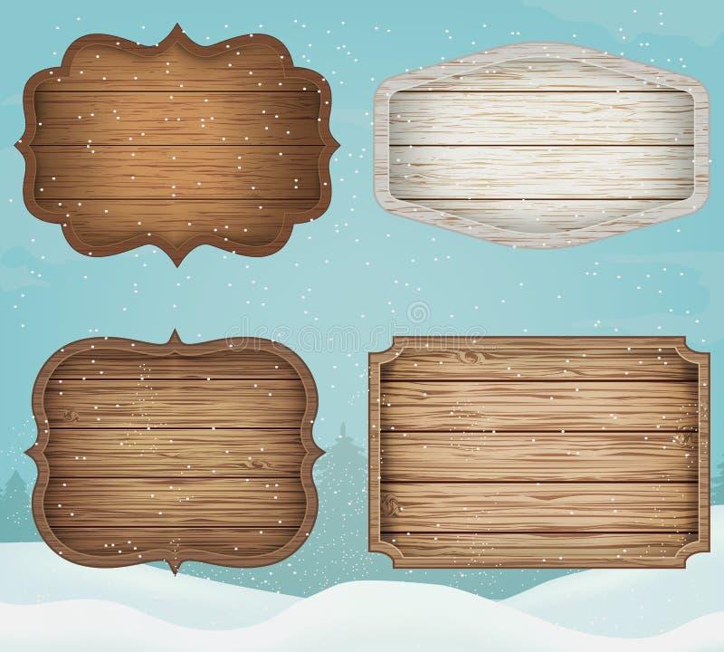 4 segni di legno realistici messi Elementi della decorazione per natale Stile dell'annata Vettore illustrazione vettoriale