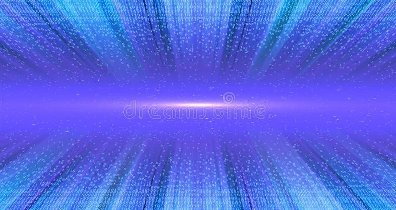 Segni di luce nel tunnel strutturale di dati Tecnologia digitale di codice binario Da caos al sistema Intelligenza artificiale gr immagini stock