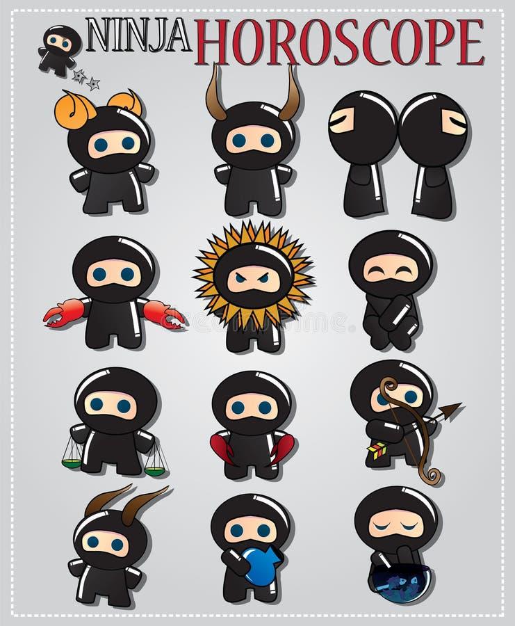 Segni di ninja dello zodiaco illustrazione di stock