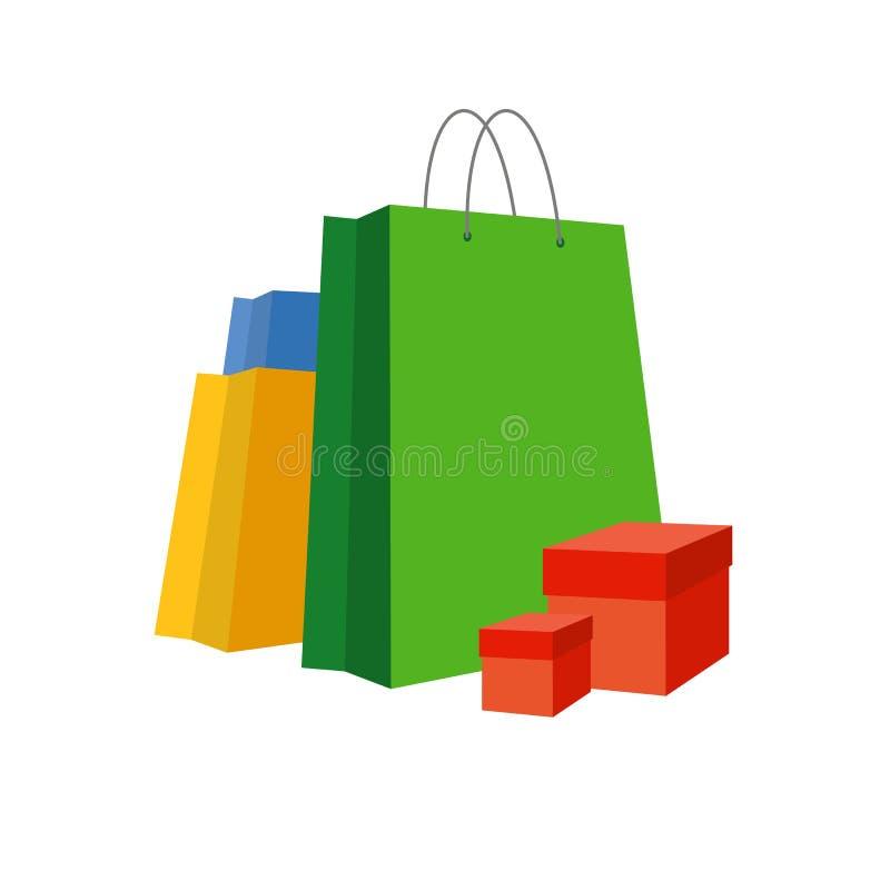 Segni di sconto Insieme dei sacchetti della spesa di carta variopinti illustrazione vettoriale