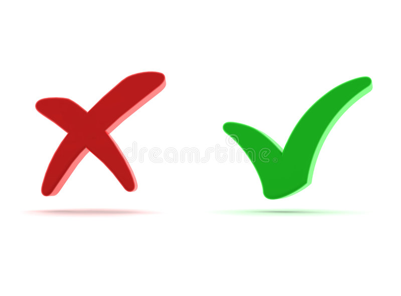 Segni di spunta di destra/errati illustrazione vettoriale