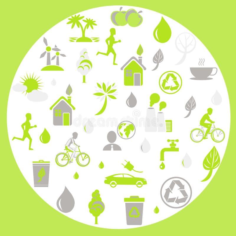 Segni di tema verdi di protezione della terra e di ecologia royalty illustrazione gratis