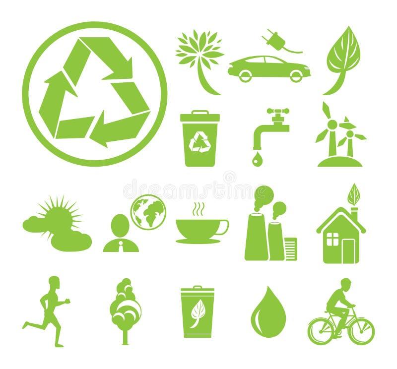 Segni di tema verdi di protezione della terra e di ecologia illustrazione vettoriale