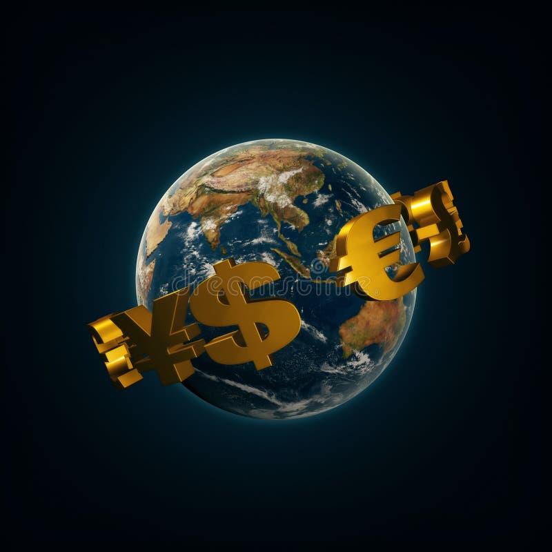 Segni di valuta del mondo intorno alla terra royalty illustrazione gratis