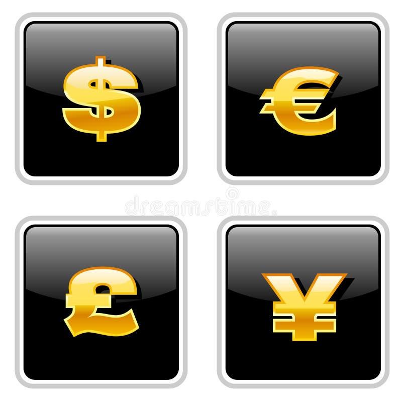 Segni di valuta neri royalty illustrazione gratis