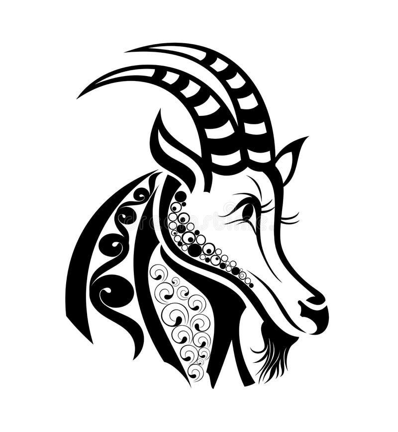 Segni di vettore del Capricorn dello zodiaco. Disegno del tatuaggio. illustrazione di stock