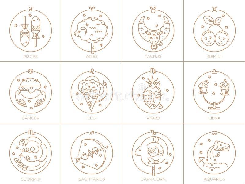 Segni di vettore dello zodiaco nei cerchi di colore dorato su un fondo, su un logo, su un tatuaggio o su un'illustrazione bianco  illustrazione di stock