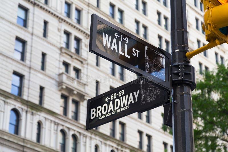 Segni di via del broadway e del Wall Street immagini stock