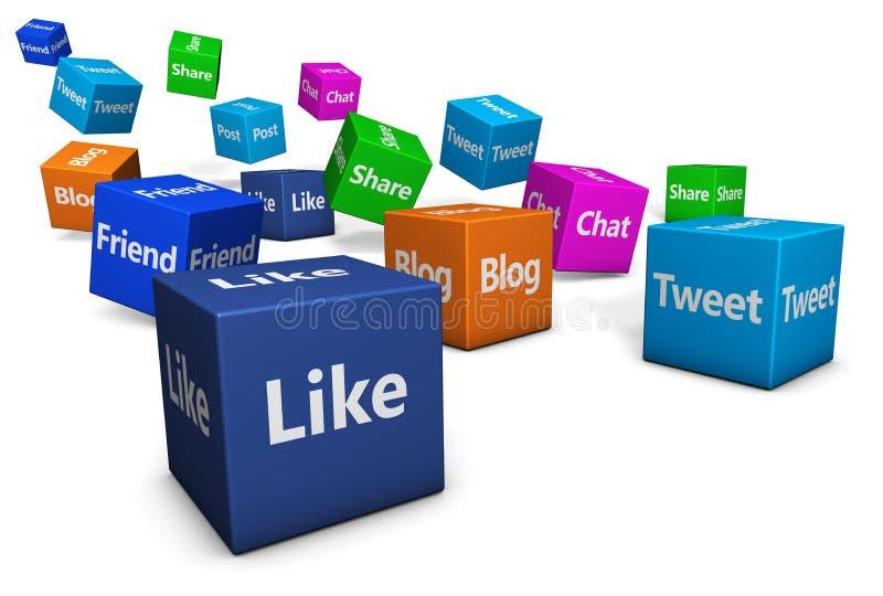 Segni di web della rete sociale illustrazione di stock