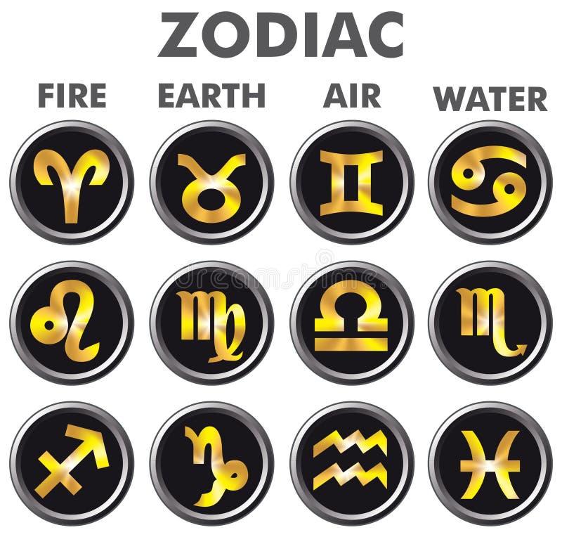 Segni dorati dello zodiaco illustrazione di stock