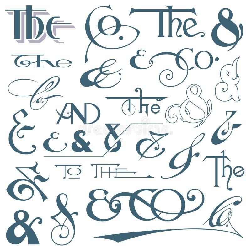 Segni & e slogan indicati da lettere della mano illustrazione vettoriale