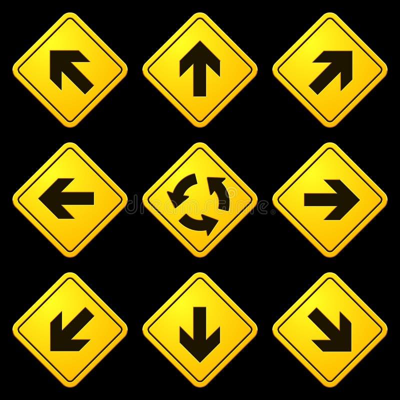 Segni gialli 02 delle frecce direzionali illustrazione vettoriale