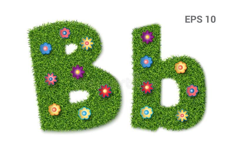 Segni il Bb con lettere con una struttura di erba e dei fiori royalty illustrazione gratis