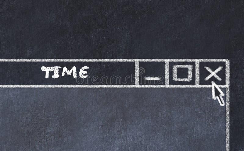 Segni il disegno col gesso della finestra sullo schermo di computer Concetto di tempo di completamento illustrazione di stock