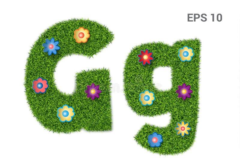 Segni il Gg con lettere con una struttura di erba e dei fiori illustrazione vettoriale