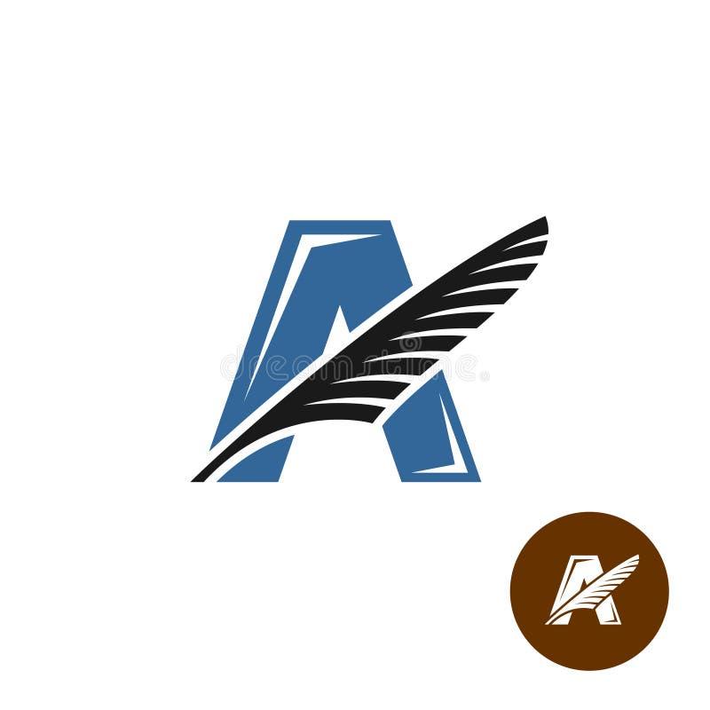Segni il logo con lettere elegante di A con la piuma Concetto del club degli scrittori illustrazione di stock