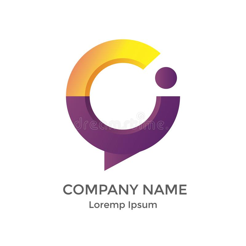 Segni il logo con lettere moderno di I e di C per sviluppatori di software immagini stock