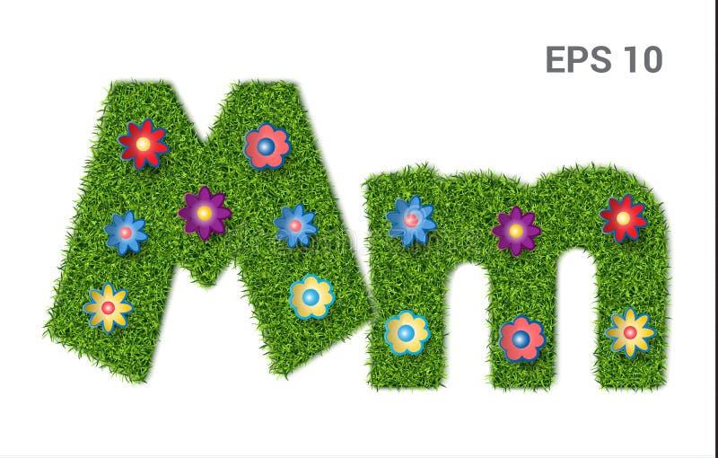 Segni il millimetro con lettere con una struttura di erba e dei fiori illustrazione di stock