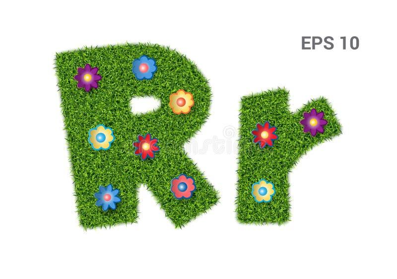 Segni il Rr con lettere con una struttura di erba e dei fiori illustrazione di stock