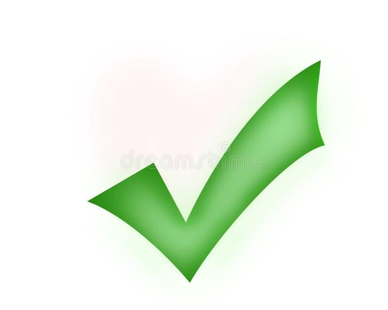 Segni il segno di spunta Colore verde immagine stock