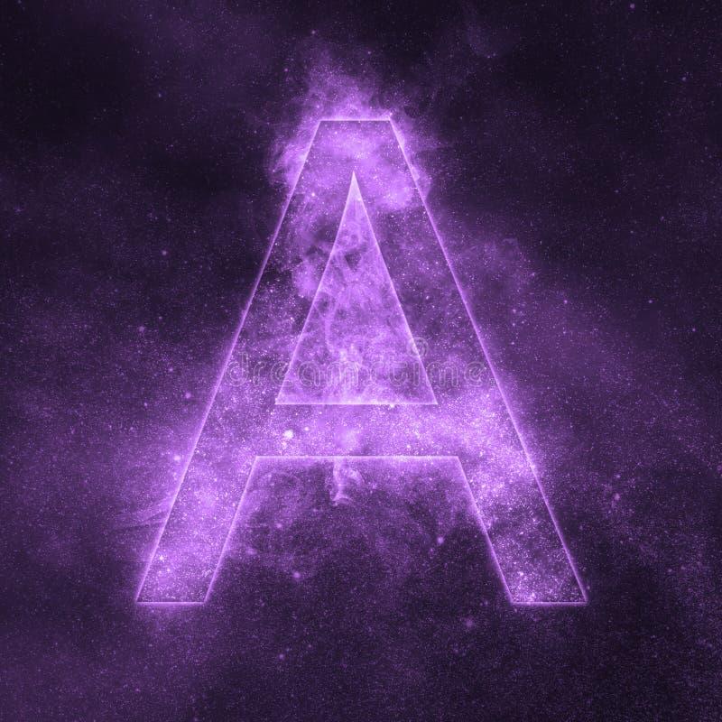 Segni il simbolo con lettere dell'alfabeto di A Lettera dello spazio, lettera del cielo notturno royalty illustrazione gratis