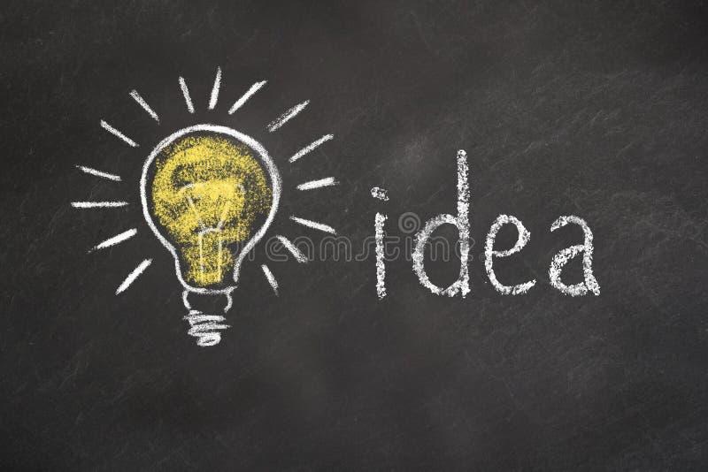 """Segni il testo col gesso """"idea """"e lampadina sulla lavagna illustrazione di stock"""