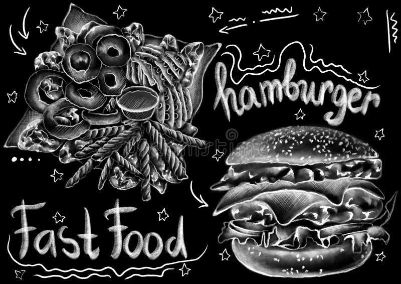 Segni l'alimento di stile, il pacchetto e le parole col gesso tirati di calligrafia sui precedenti neri piani illustrazione vettoriale