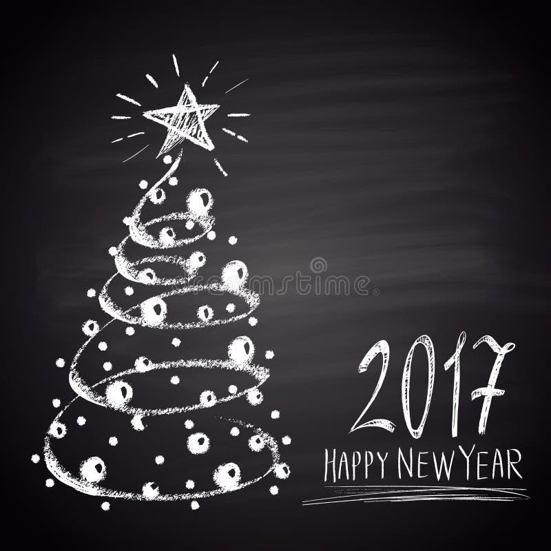 Segni l'illustrazione col gesso tirata con l'albero di Natale ed il testo Un nuovo tema felice di 2017 anni royalty illustrazione gratis