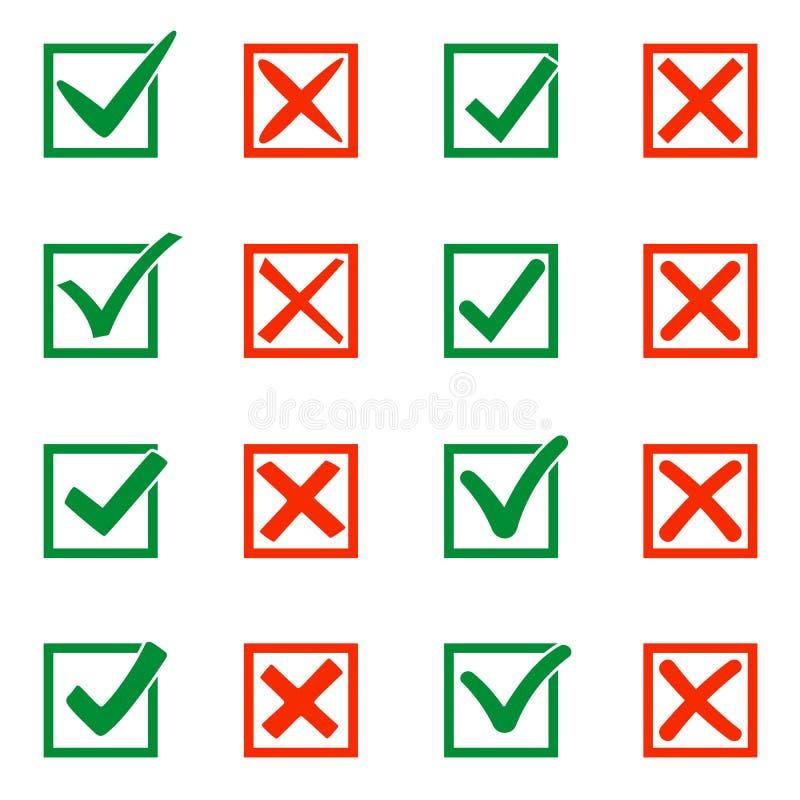 Segni la X e la V in casella di controllo Ganci verdi, croci rosse Sì nessun icone per i siti Web o le applicazioni, selezione di royalty illustrazione gratis