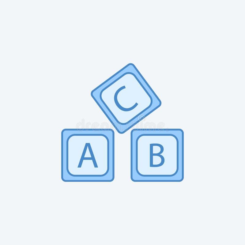 segni la linea con lettere colorata icona dell'alfabeto 2 di logo di A la B C Illustrazione scura e blu-chiaro semplice dell'elem illustrazione vettoriale