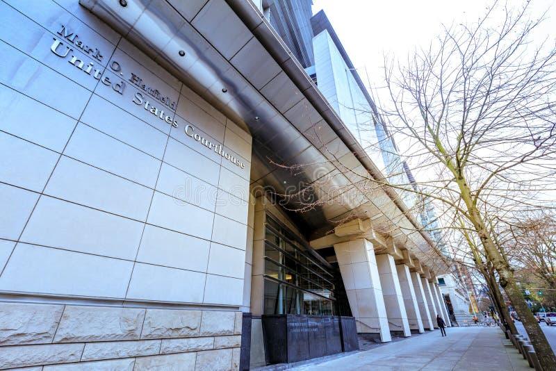 Segni la O Tribunale di Hatfield Stati Uniti a Portland del centro immagine stock libera da diritti