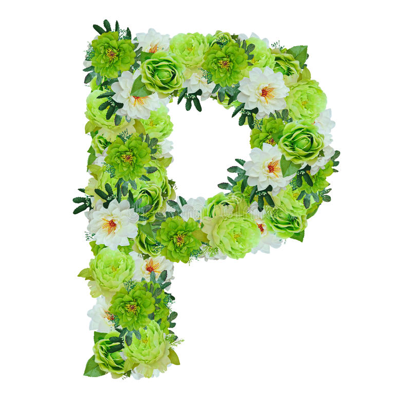 segni la p con lettere dai fiori verdi e bianchi isolati