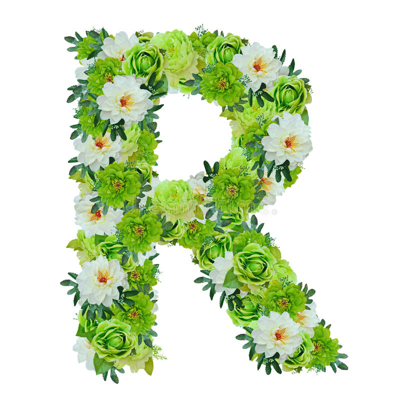 Segni la r con lettere dai fiori verdi e bianchi isolati for Fiori verdi