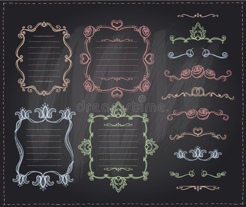Segni la retro linea col gesso grafica elementi, divisori e strutture del monogramma messe royalty illustrazione gratis