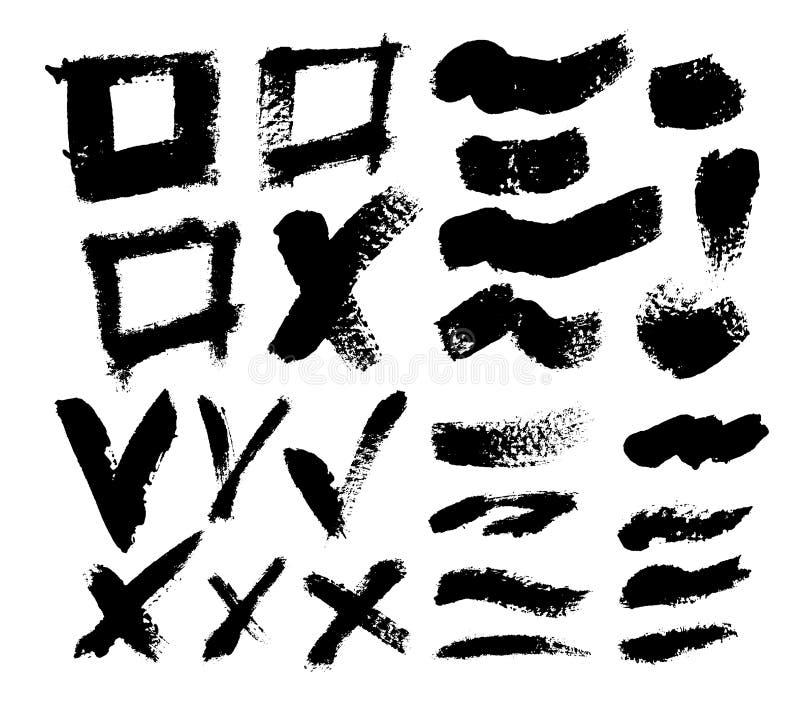 Segni, segni, linee, incroci e caselle di controllo spazzolati il nero disegnato a mano di vettore Canta l'insieme di simboli di  illustrazione di stock