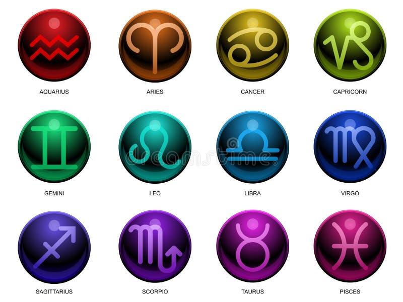 Segni lucidi dello zodiaco royalty illustrazione gratis