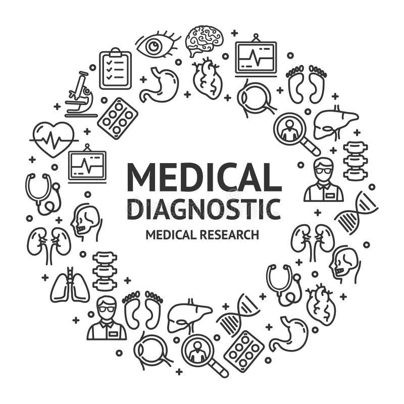 Segni medici di sistemi diagnostici intorno alla linea sottile concetto del modello di progettazione dell'icona Vettore illustrazione di stock