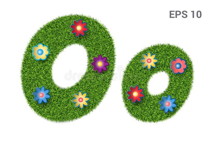Segni Oo con lettere con una struttura di erba e dei fiori illustrazione vettoriale