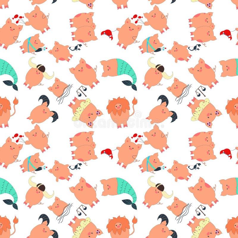 Segni orientali dell'oroscopo dello zodiaco con il simbolo di 2019 - il maiale Ariete, Toro, Gemelli, Cancro, Leo, Vergine, Bilan royalty illustrazione gratis